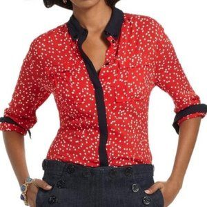 Anthropologie Maeve Red Polka Dot Blouse Button Up Shirt 2